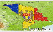 Flag Panoramic Map of Moldova, physical outside