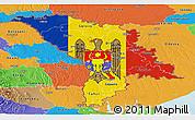 Flag Panoramic Map of Moldova, political outside