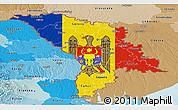 Flag Panoramic Map of Moldova, political shades outside