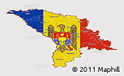 Flag Panoramic Map of Moldova