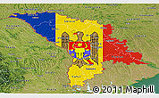 Flag Panoramic Map of Moldova, satellite outside