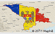 Flag Panoramic Map of Moldova, shaded relief outside
