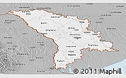 Gray Panoramic Map of Moldova