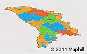Political Panoramic Map of Moldova, cropped outside
