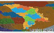 Political Panoramic Map of Moldova, darken