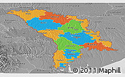 Political Panoramic Map of Moldova, desaturated