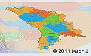 Political Panoramic Map of Moldova, lighten