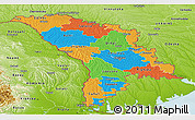 Political Panoramic Map of Moldova, physical outside