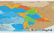 Political Panoramic Map of Moldova, political shades outside