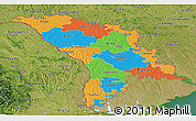 Political Panoramic Map of Moldova, satellite outside