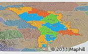 Political Panoramic Map of Moldova, semi-desaturated