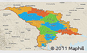 Political Panoramic Map of Moldova, shaded relief outside