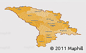 Political Shades Panoramic Map of Moldova, cropped outside