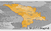 Political Shades Panoramic Map of Moldova, desaturated