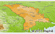 Political Shades Panoramic Map of Moldova, physical outside
