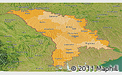 Political Shades Panoramic Map of Moldova, satellite outside