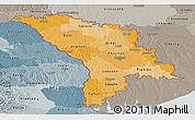 Political Shades Panoramic Map of Moldova, semi-desaturated