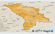 Political Shades Panoramic Map of Moldova, shaded relief outside