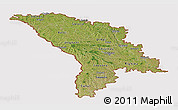 Satellite Panoramic Map of Moldova, cropped outside