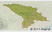 Satellite Panoramic Map of Moldova, lighten
