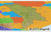 Satellite Panoramic Map of Moldova, political outside