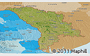 Satellite Panoramic Map of Moldova, political shades outside