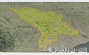 Satellite Panoramic Map of Moldova, semi-desaturated