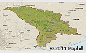 Satellite Panoramic Map of Moldova, shaded relief outside