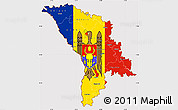 Flag Simple Map of Moldova