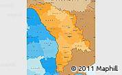 Political Shades Simple Map of Moldova