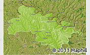 Physical 3D Map of Soroca, satellite outside