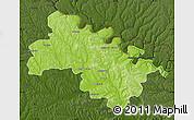 Physical Map of Soroca, darken