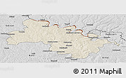 Shaded Relief Panoramic Map of Soroca, desaturated