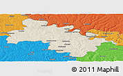 Shaded Relief Panoramic Map of Soroca, political outside