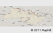 Shaded Relief Panoramic Map of Soroca, semi-desaturated