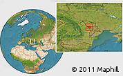 Satellite Location Map of Ungheni