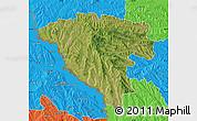 Satellite Map of Ungheni, political outside