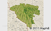 Satellite Map of Ungheni, shaded relief outside
