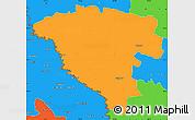 Political Simple Map of Ungheni