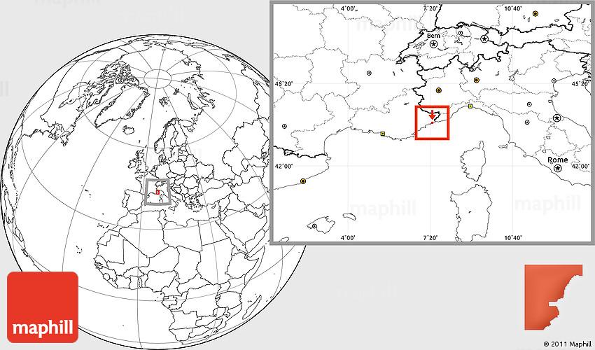 Blank Location Map of Monaco