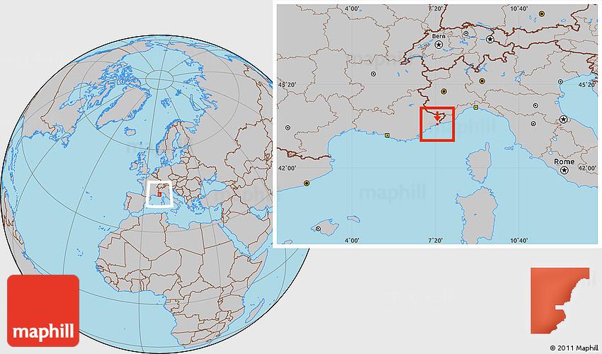 Gray Location Map Of Monaco
