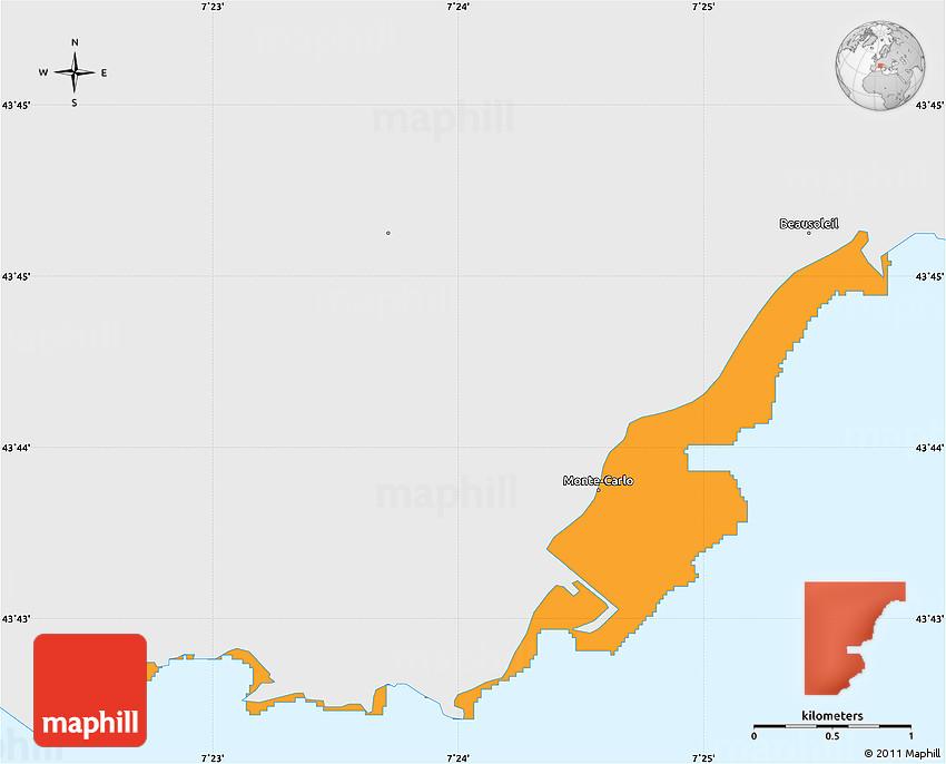 Political Simple Map of Monaco single color outside