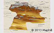Physical Panoramic Map of Bayanhongor, shaded relief outside