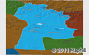 Political Panoramic Map of Bayanhongor, darken