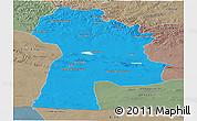 Political Panoramic Map of Bayanhongor, semi-desaturated