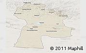 Shaded Relief Panoramic Map of Bayanhongor, lighten