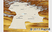 Shaded Relief Panoramic Map of Bayanhongor, physical outside