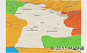 Shaded Relief Panoramic Map of Bayanhongor, political outside