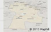 Shaded Relief Panoramic Map of Bayanhongor, semi-desaturated