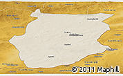 Shaded Relief Panoramic Map of Dornogovi, physical outside